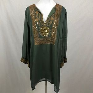 Soft Surroundings Green Gold Embroidered Tunic